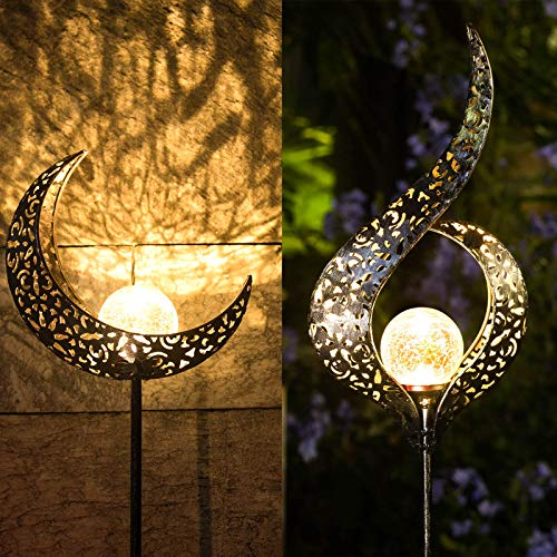 Homeimpro Outdoor Solar Lights Garden Crackle Glass Globe Stake Lights,Waterproof LED Lights for Garden,Lawn,Patio or Courtyard(Moon&Flower)