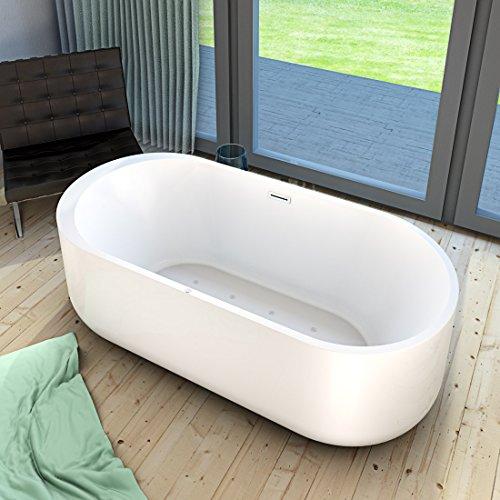 AcquaVapore freistehende Badewanne Wanne Whirlpool FSW16 170cm mit Luftmassage, Armatur:ohne Armatur +0.-EUR