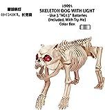 Decoración Halloween SunBai esqueleto animal sub-Bar dispone de emulación props arañas ratas modelo hueso de perro, perro mascota ojos con luz)