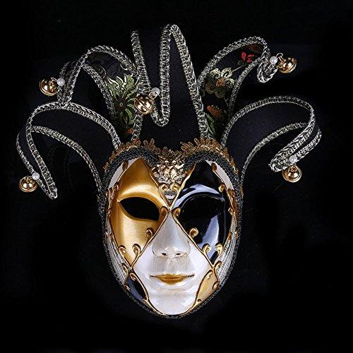 Máscaras venecianas romanas griegas máscara máscara disfraz de Halloween vestido de fiesta decoración suministros máscara con personalidad (negro)