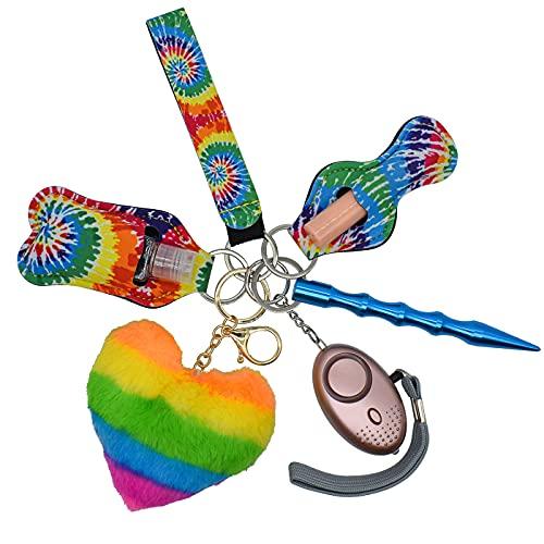 Safety Keychains Full Set for Women with Personal Alarm, Kubaton, Pom Pom, Chapstick and Hand Sanitizer Holder Wristlet
