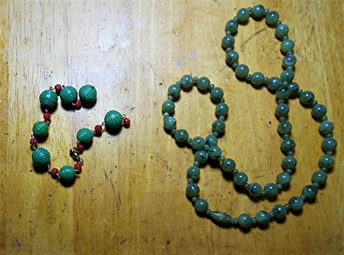 Abstract Green Tomatoes & Lady Bugs Bracelet, 1930s HANDMADE Beads Green, and Red w/ Black Dots. Artistic, Fun, Imaginative