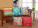 RD TREND Digital Printed Jute Cushion Covers Set of 5-16 x 16 inch (RED)