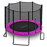 SereneLife Trampoline with Net – 10ft ASTM Approved Trampoline with Net Enclosure – Stable, Strong Kids and Adult Trampoline – Outdoor Trampoline for Teens and Adults – Reinforced Kids Trampoline, Pin