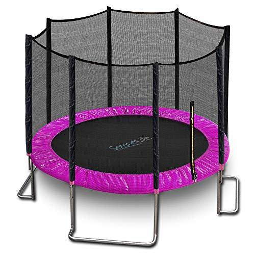 SereneLife Trampoline with Net – 10ft ASTM Approved Trampoline with Net Enclosure – Stable, Strong Kids & Adult Trampoline – Outdoor Trampoline for Teens and Adults – Reinforced Kids Trampoline, Pink