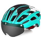 VICTGAOL Casco Bicicleta Helmet Bici Ciclismo para Adulto con Luz Trasera LED Visera Extraíble Hombres Mujeres Adultos de Bicicleta para Montar (Cian)