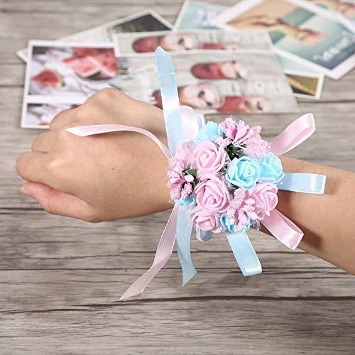 Aoutecen Ramillete de muñeca de Flores Pulsera de Flores Ramillete de muñeca Nupcial Decoración del Banquete de Boda(Light Pink + Light Blue)