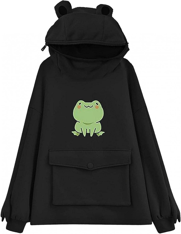 Masbird Hoodies for Women 2021, Women's Anime Frog Print Cute Hoodies Long Sleeve Fashion Graphic Hoodies for Teen Girls