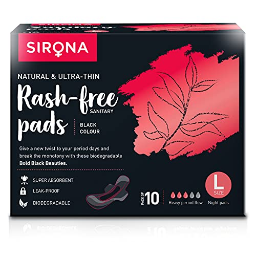 Sirona Natural Biodegradable Super Soft Black Sanitary Pads/Napkins - 10 Pieces, Large (L) Night Pads - Antibacterial, Ultra Thin and Rash Free Protection