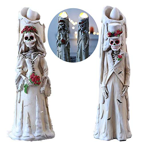 RYDZCLH Fantôme Epoux électronique Bougie, Halloween Horror Skeleton électronique Bougie, Convient pour Ghost Haunted House, Bar Props Creative Décoration, 31 * 9cm