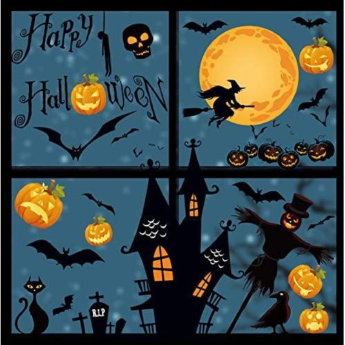 Yuson Girl Halloween Adesivi multielemento della Parete di Halloween Decorazioni Murali Carta da Parati Estraibile Decalcomanie Cranio Pipistrello Zucca a Muro Adesivi per finestre