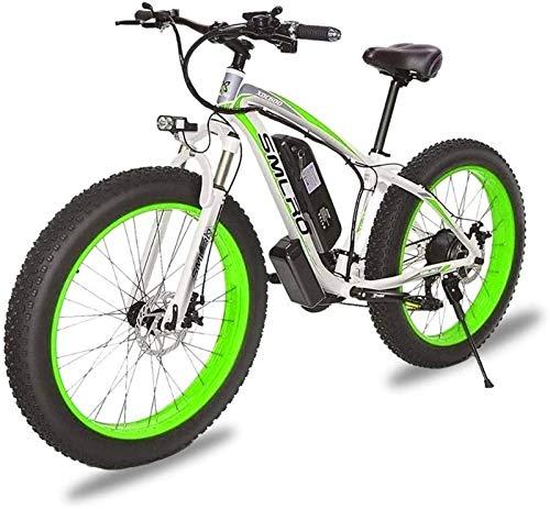 Bicicletas Eléctricas, 1000W de 26 pulgadas de bicicletas de montaña eléctrica Fat Tire E-Bici 7 velocidades bicicletas crucero de la playa Deportes de Montaña Suspensión completa Frenos de disco hidr