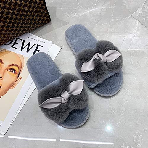 UXZDX Zapatillas De Mujer, Zapatos Planos Mullidos Y Peludos, Zapatillas De Casa De Invierno, Cómodas Zapatillas De Moda (Color : Gray, Size : 41)