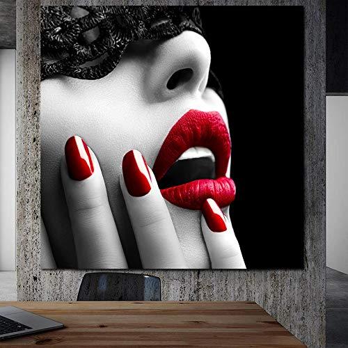 KWzEQ Leinwanddrucke Frau rote Lippen Poster und dekorative Bilder für Wohnzimmer Wohnkultur70x70cmRahmenlose Malerei