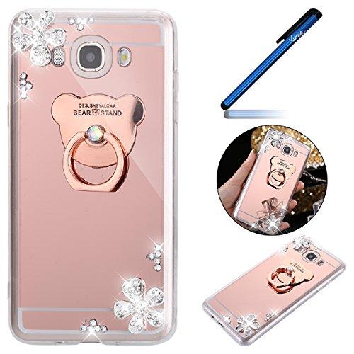YSIMEE para Samsung Galaxy J7 2016 Funda,Xmas Decoración Fundas Transparente Silicona Estuches de Espejo Suave Ultra Fina Delgado Gel Bumper TPU Goma Protectora Carcasas -Oro rosa