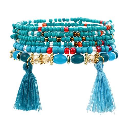 LIUL 3-4 unids/Set Pulseras de Moda brazaletes para Mujer Conjunto de Pulseras con Cuentas de Piedra con Pulsera de Abrigo Largo con Gemas Coloridas para Mujer