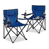 Relaxdays 10020934_45 Set 2 Pezzi Sedie da Campeggio, con Schienale Imbottito, Pieghevole, Blu,...