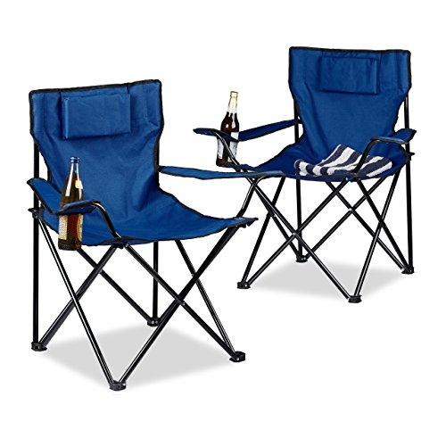 Relaxdays Set 2 pz. sedie da Campeggio, con Schienale Imbottito, portabevande, Pieghevole, HxLxP 82x78x50 cm, Colore Blu