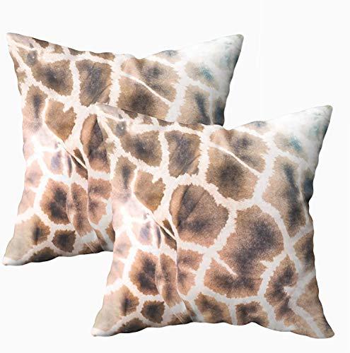 Fundas de almohada, 2 piezas abstractas patrón safari, pared natural de jirafas de pie, cuerpos de animales, fundas de almohada de 45 x 45 cm, fundas de almohada para sofá o sofá