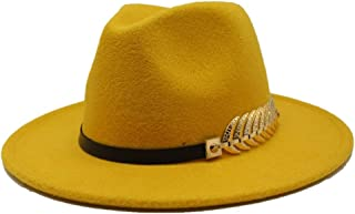 SGJFZD New Men's Women's Wide Brim Fedora Hat Travel Autumn Church Party Hat Cloche Travel Casual Fascinator Hat Size 56-58CM (Color : Yellow, Size : 56-58)