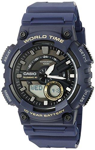 Casio Men's Heavy Duty Quartz Resin Watch, Color: Blue (Model: AEQ110W-2AV)