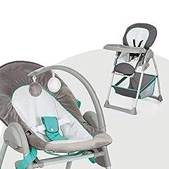 Hauck Sit'n Relax Newborn Set – pasgeboren bevestiging en kinderstoel vanaf de geboorte, met liggende functie / incl. speelblad, tafel, rollen / in hoogte verstelbaar, opgroeien, vouwen, harten grijs *