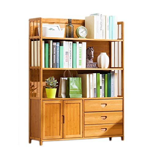 SHANG Massivholz-Bücherregal, mehrschichtige Halboffene Aktenschränke Lagerung Modernes Bücherregal mit Schubladen und Türen für das Home Office,4 Layers