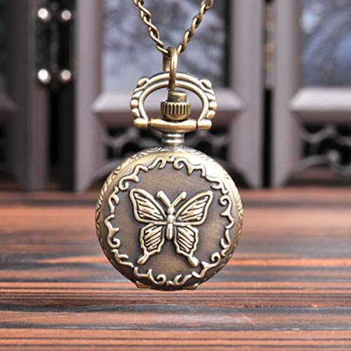Patrón de mariposa sólido de bronce de trompeta con bolsillos con un reloj de bolsillo