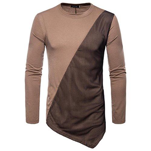 Huihong Herren Langarm Shirt Herbst Gemeinsame O Hals Sweatshirts Tops Bluse Freizeit Sportswear Streetwear (Kaffe, 2XL)