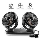 ELUTO Car Fan 12V/24V Cigarette Lighter Electric Auto Cooling Fan 3 Speed 360