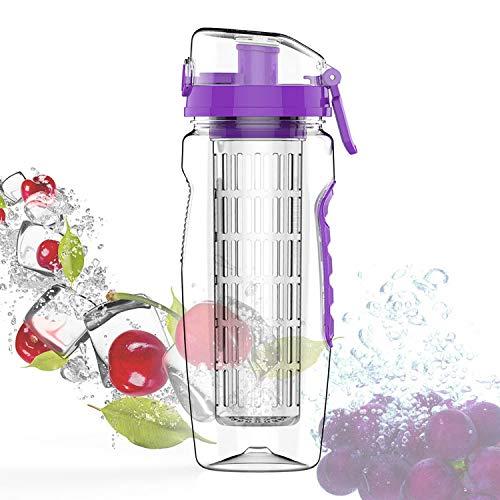 PENVEAT 900 ML sans BPA Infuseur à Fruits jus Shaker Sports Citron Bouteille d'eau Tour randonnée Portable d'escalade Camp Bouteilles Taille Unique Violet