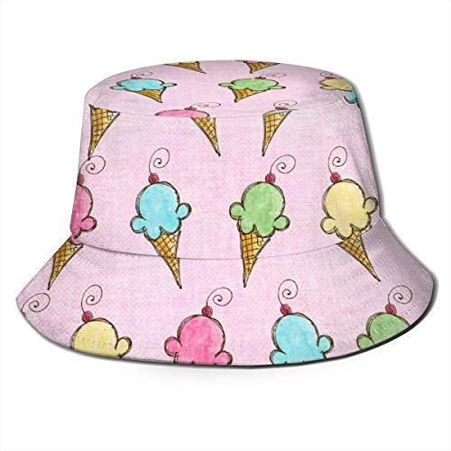 BUXI Printing Fisherman Hat,Bunter Eiscreme-Eimer-Hut, Personalisierte Druck-Eimer-Sonnenhüte Für Fischerboot-Picknicks