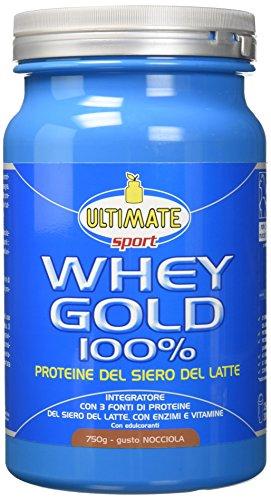 Whey Gold 100% - Proteine Del Siero Del Latte Isolate E Idrolizzate – Integratore Di Proteine Per La Crescita E Il Mantenimento Della Massa Muscolare Magra – Gusto Nocciola – 750 g – Ultimate Italia