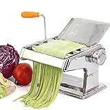 Máquina para hacer pasta Máquina para hacer pasta de acero inoxidable 304 Máquina para hacer pasta manual con 3 rodillos Máquina para hacer pasta Máquina para hacer todo tipo de fideos (21.2x15.5x21c