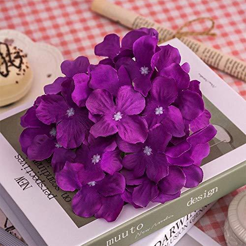 UYG 13–15 cm Seiden-Hortensien, weiße künstliche Blumen, große Hortensien, Hochzeitsblumen, Dekoration pflaume