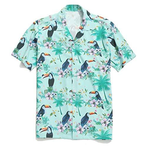 CAOQAO Camisa Manga Corta Hombre Camisa Hawaiana Blusa Superior Solapa pájaro impresión de Hoja