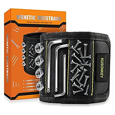 Magnetic Wristband, Kusonkey Tool Belt with 15 Powerful Magnets for Holding Screws/Nails/Drill Bits, Versatile Christmas Tool Gift for Men/Father/Dad/DIY Handyman/Electrician/Husband/Boyfriend. from Kusonkey