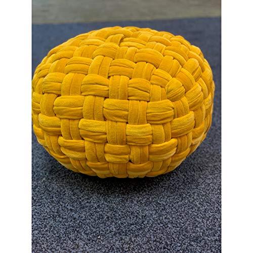 Be Wild Round Shape Beautiful Design Printed Handmade Patchwork Multicolor Cotton Single Ottoman/Mudda/Stool/Poufee (Large, Yellow Velvet)