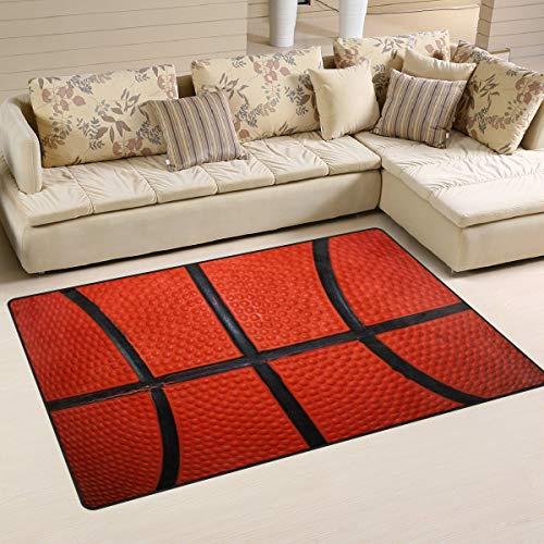 Alfombra de baloncesto con textura de piel, antideslizante, para salón, comedor, dormitorio, dormitorio, 152 x 99 cm, decoración del hogar