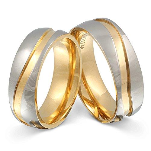 Juwelier Schönschmied - Zwei Titanringe Partnerringe Hochzeitsringe Titan inkl. persönliche Lasergravur 52-58 LANrT11HH - Almada