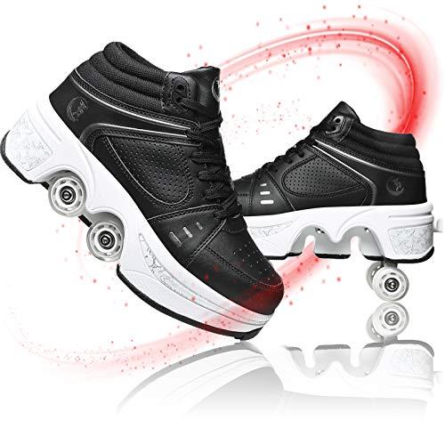 Rodillo Zapatos De Skate Botas De De 4 Ruedas con Ruedas Ajustables Automática Calzado De Skateboarding Zapatos Invisible De Polea De Zapatos Deportes De Exterior