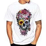 VEMOW Sommer Männer Täglichen Casual Druck Tees Hemd Kurzarm T-Shirt Bluse Pullover Pulli(Weiß, 52 DE/XXL CN)
