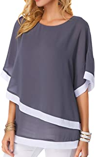 e9308e87b11a Asseny Mujer Manga Murciélago Holgado Talla Grande Blusa de Chifón Camisas  Jersey Tops para el Verano