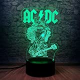 Night Light Acdc Band Rocker Lid 3D Usb Led Lámpara De Ilusión Atmósfera...