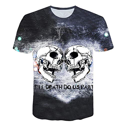 RFEGEF Unisex 3D Printed T Shirt,Novelty 3D Printed T-Shirts Two White Skulls Black Gothic Casual Tie-Dye Short Sleeves Crewneck Tshirt For Men Women Summer Casual Graphic Tees,size:3XL
