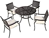 LOKATSE HOME 5-Piece Outdoor Patio Metal Dining Set with Iron Armrest Cushioned Chairs and Steel Round Table with Umbrella Hole, Beige