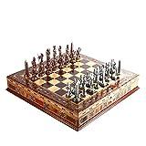 Juegos de mesa Ajedrez Egipto el faraón cobre antiguo figuras de metal juego de ajedrez, tablero de ajedrez sólido de madera hecho a mano Piezas natural, de Almacenamiento Interior Rey 9 cm Ajedrez
