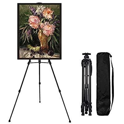 """Easel-Stand, Art-Stand, Artist-Easels Extra Thick Aluminum Metal Tripod Display Adjustable Height from 21-61"""" for Floor/Table-Top Drawing and Displaying with Portable Carry Bag"""