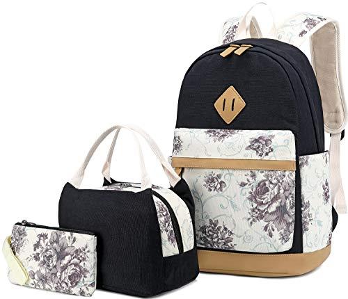 BLUBOON School Backpack Set Canvas Teen Girls Bookbag Women Ladies Laptop Backpack Lunch Tote Bag Purse (Floral Black)
