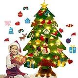 Weneye Árbol de Navidad de Fieltro, árbol de Navidad de Bricolaje niños, con Adornos y Luces de Hadas, Pared de la Puerta de casa, decoración navideña Interior